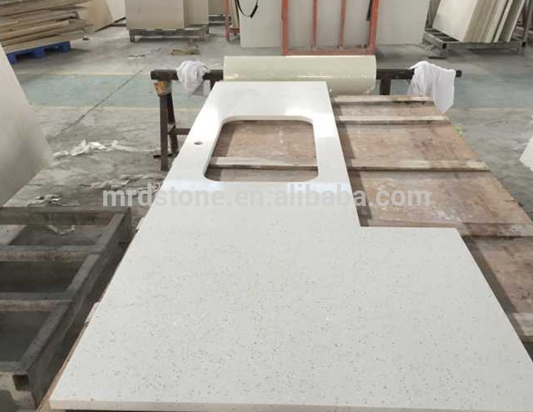 Chinese Supplier Artificial Stone Crystal White Quartz Countertop