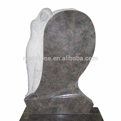 European style Himalaya Blue granite angel monument tombstone