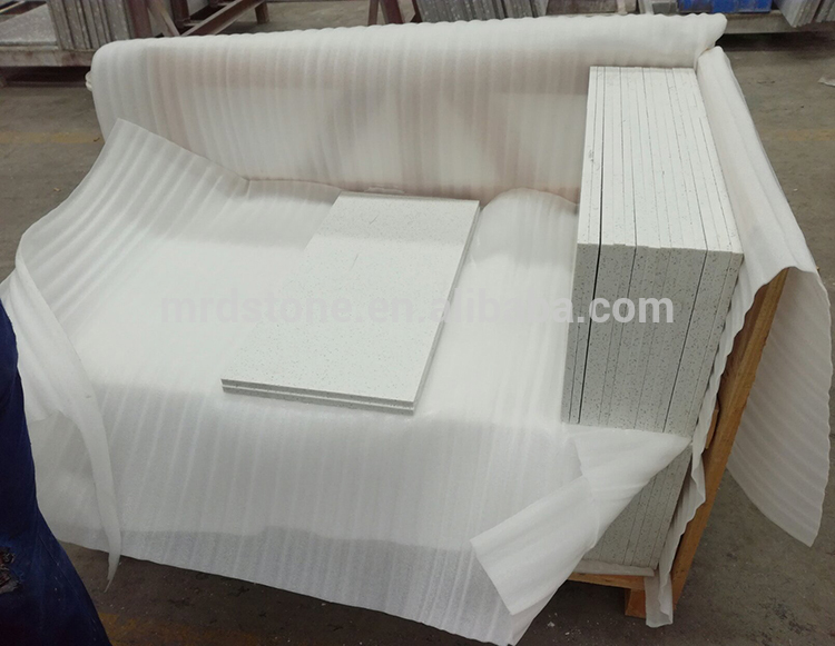 Wholesale Cut To Size Artificial Stone Flooring Crystal White Quartz Tile