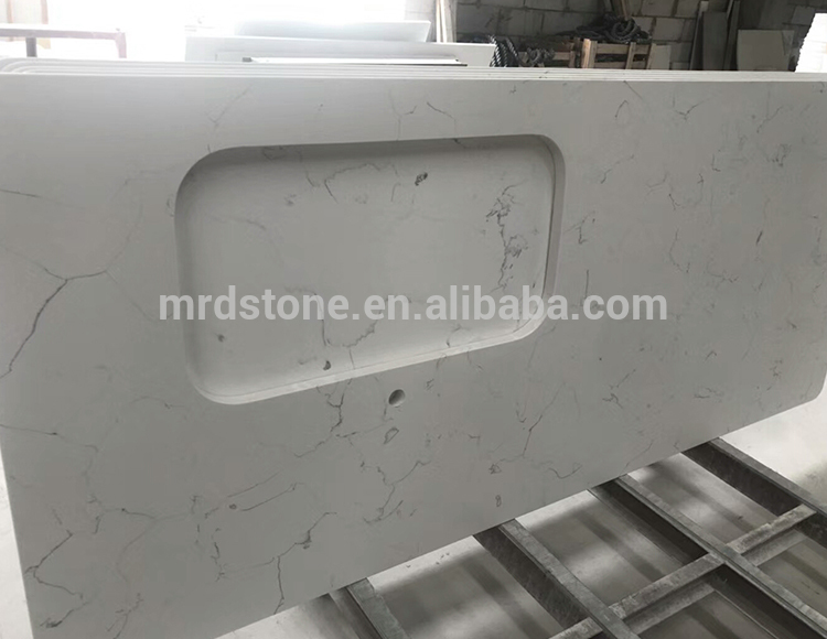Prefab Custom Design Artificial Calacatta Quartz Stone Countertop