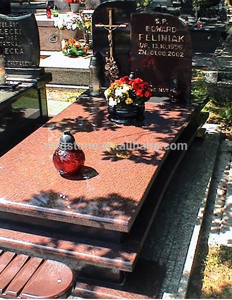 Wholesale Ruby Star Granite Gold Cross Tombstone Cheap Headstones With Letters