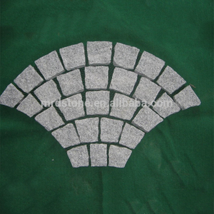 Fan shape Granite natural paving, paving stone on net