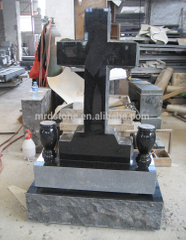 High Quality American Style Granite Cross Black Tombstones