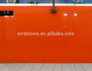 Factory Price Polishing Artificial Pure Orange Quartz Stone For Countertop