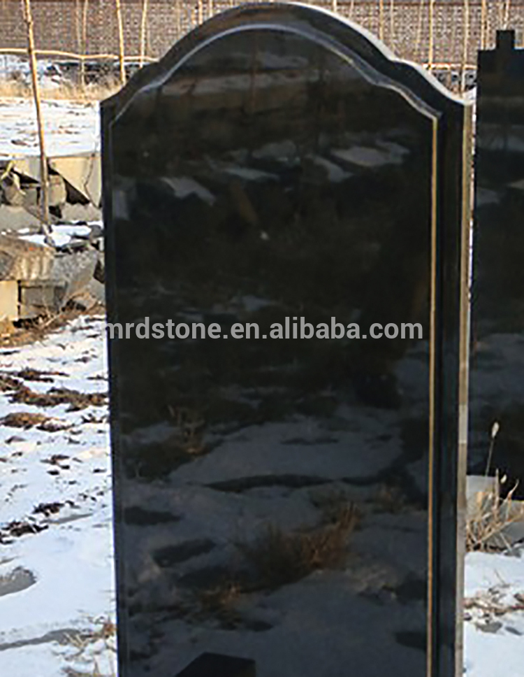 Cheap Customized Black Granite Blank Upright Headstone For Russia