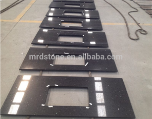 High Quality Cheap Price India Style Polished Crystal Black Quartz Countertop