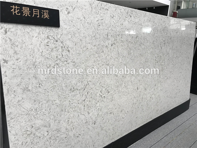House decoration various big flower series white quartz slabs