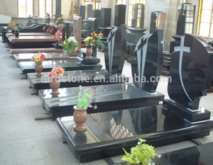 Wholesale Modern Cross Black Granite Tombstone
