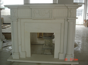 Handmade Indoor Used Travertine Fireplace Mantel for Home Decoration