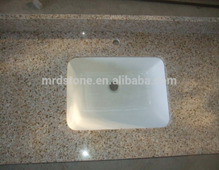 Prefab Chinese Nature Stone Polished Yellow Granite Countertop Kitchen