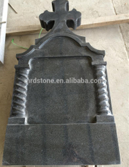 Romania Style Black G654 Granite Cross Column Headstones