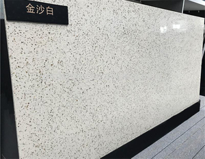 China Factory Artificial Elegant Black Lines Beige Stone Quartz