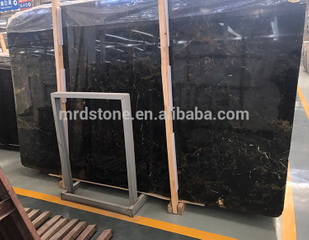 Chinese Polished Natural Less Gold Veins Black Marble Slab