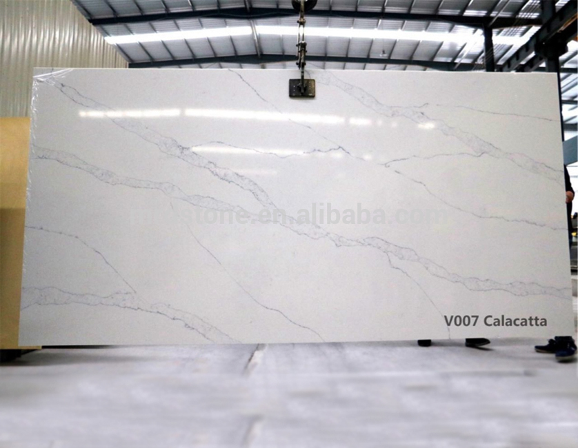 Factory supply various color V007 calacatta white quartz slabs for countertop