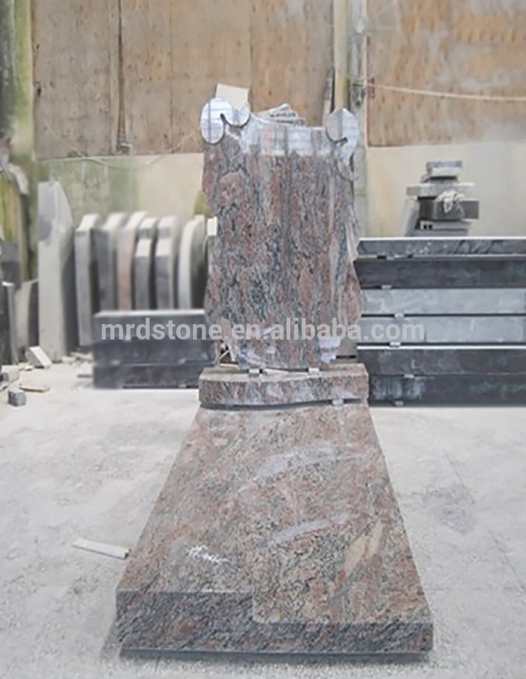 Factory Natural Chinese Albania Style Kinawa Tombstone Grey Red Granite Monument