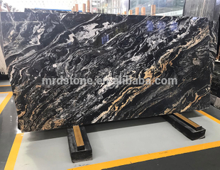 Best Price Polished Multicolor Vein China Black Marble Slab