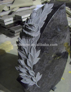 China Granit Heart Style Carved Rose Flower Gravestone For Germany