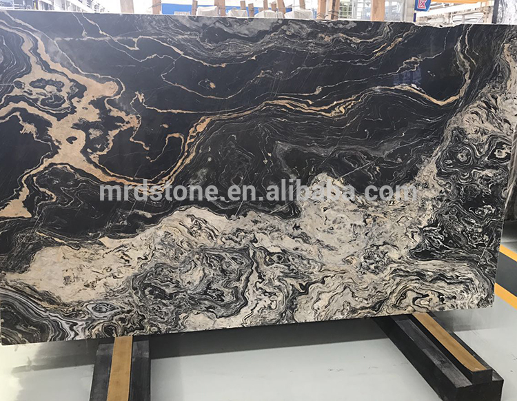 Own Factory China Polished Black Gold Marble