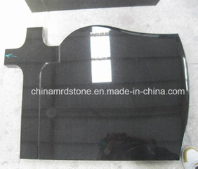 Customize Shanxi Black / Absolute Black Granite Cross Cemetery Headstone