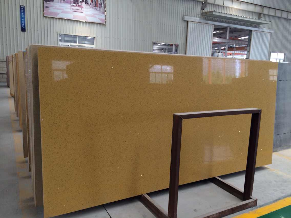 Popular Glass Crystal Dark Yellow Artificial Quartz Slab