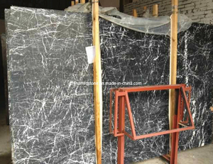 Chinese Black Marquina Marble Slab for Bathroom Wall
