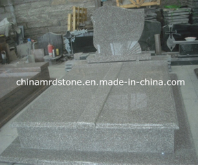 Custom G664 Red Granite Double Cemetery Headstones