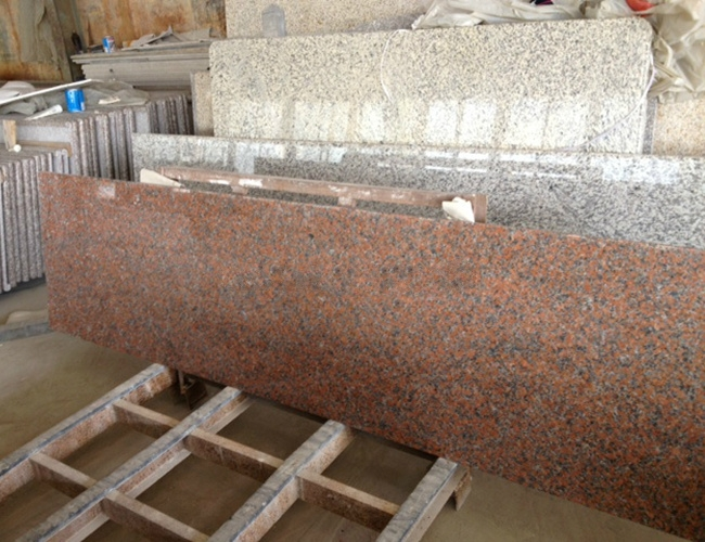 Polished Maple Red Granite Countertop Slab / Kitchen Top Slab